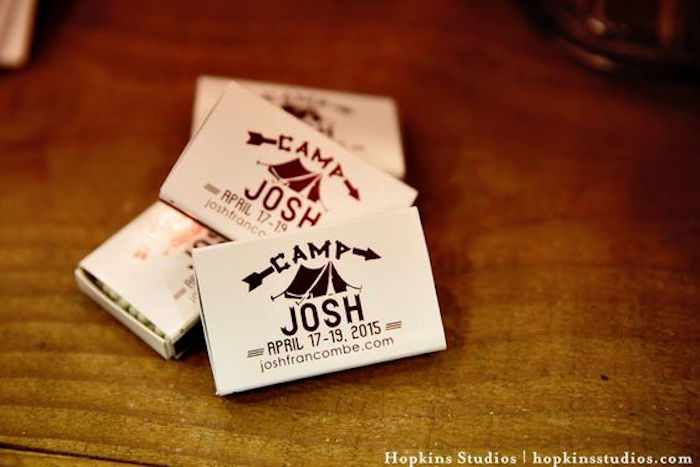 Camping matchbox favors from a Camping Themed Bar Mitzvah Celebration on Kara's Party Ideas | KarasPartyIdeas.com (22)