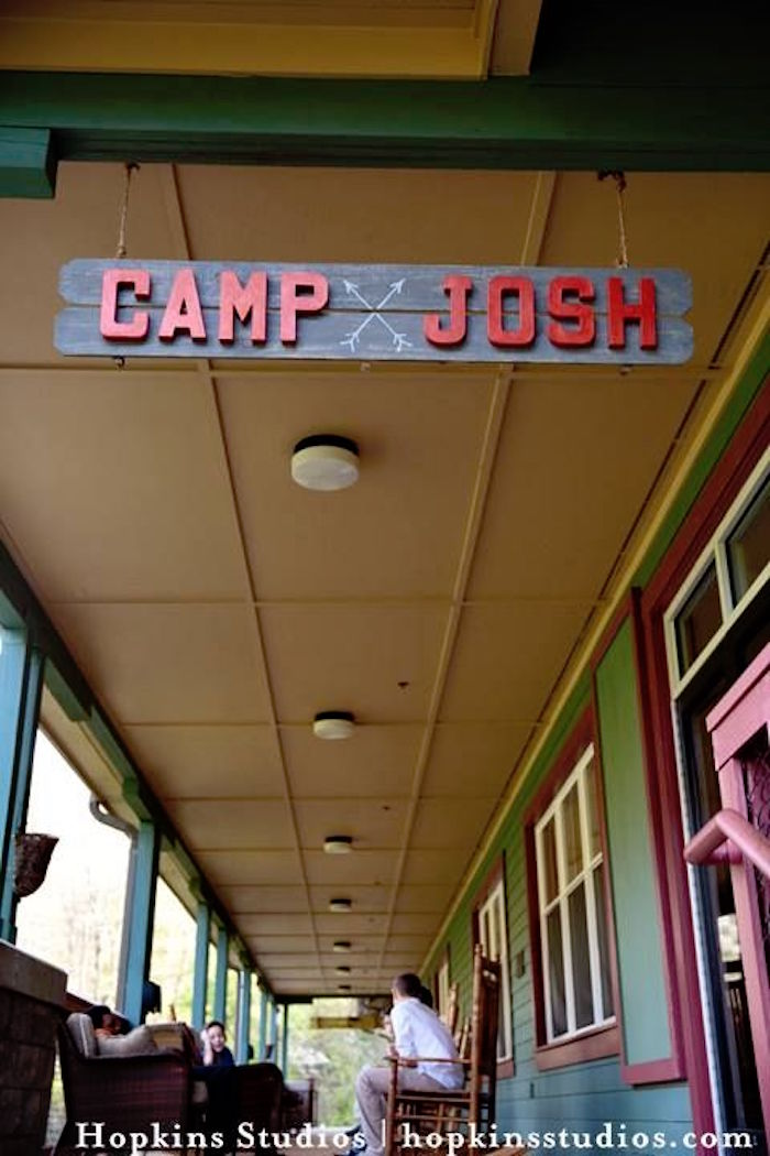 """Camp Josh"" wooden party sign from a Camping Themed Bar Mitzvah Celebration on Kara's Party Ideas 
