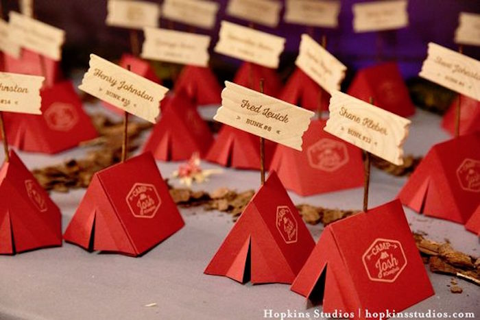 Tent camp place cards from a Camping Themed Bar Mitzvah Celebration on Kara's Party Ideas | KarasPartyIdeas.com (20)