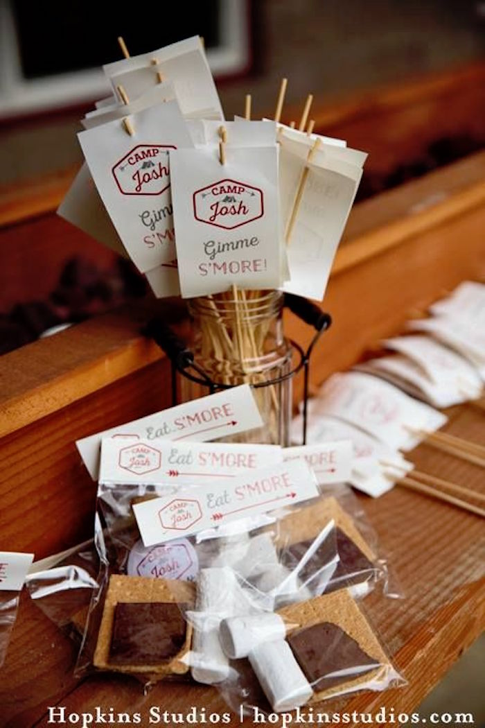 S'more table from a Camping Themed Bar Mitzvah Celebration on Kara's Party Ideas | KarasPartyIdeas.com (17)