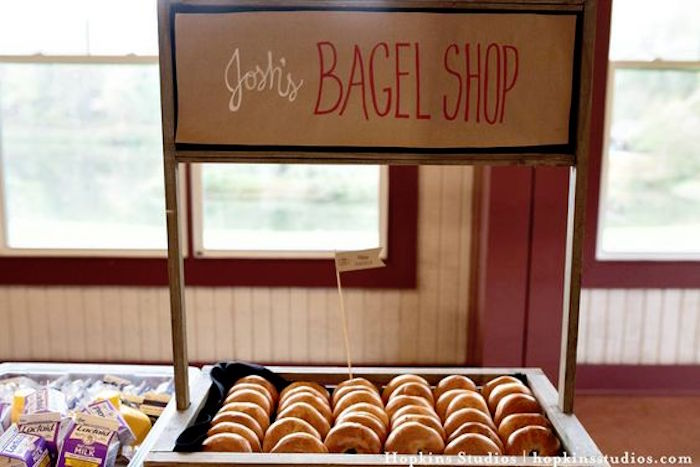 Bagel shop stand from a Camping Themed Bar Mitzvah Celebration on Kara's Party Ideas | KarasPartyIdeas.com (15)