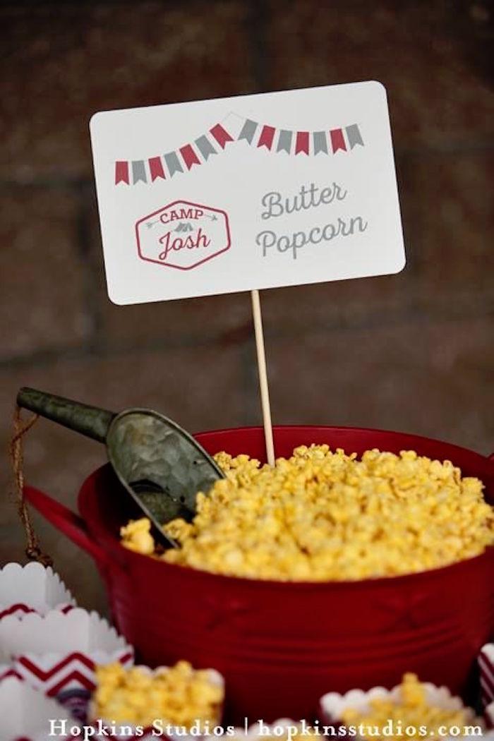 Popcorn tub from a Camping Themed Bar Mitzvah Celebration on Kara's Party Ideas | KarasPartyIdeas.com (13)