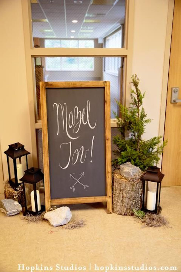 Chalkboard sign & camp decor from a Camping Themed Bar Mitzvah Celebration on Kara's Party Ideas | KarasPartyIdeas.com (12)
