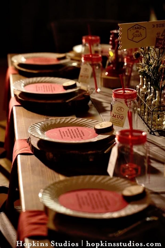 Kid tablescape from a Camping Themed Bar Mitzvah Celebration on Kara's Party Ideas | KarasPartyIdeas.com (11)