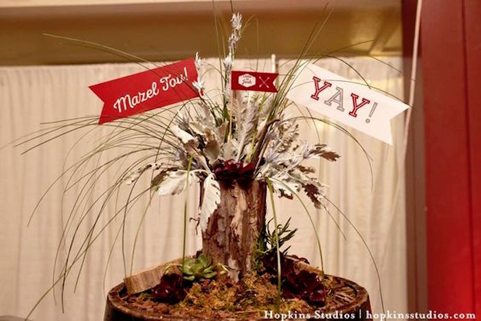 Barrel centerpiece from a Camping Themed Bar Mitzvah Celebration on Kara's Party Ideas | KarasPartyIdeas.com (9)