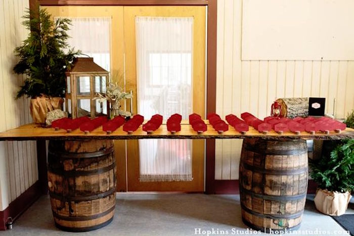 Barrel table from a Camping Themed Bar Mitzvah Celebration on Kara's Party Ideas | KarasPartyIdeas.com (8)
