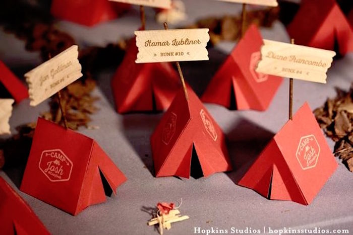 Tent place cards from a Camping Themed Bar Mitzvah Celebration on Kara's Party Ideas | KarasPartyIdeas.com (7)