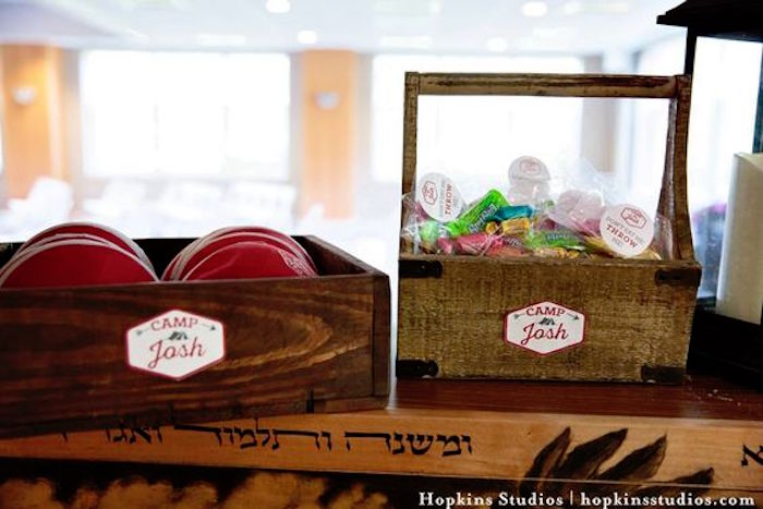 Partyware placed in wooden boxes from a Camping Themed Bar Mitzvah Celebration on Kara's Party Ideas | KarasPartyIdeas.com (77)