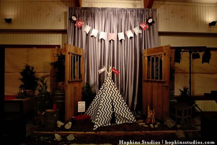 Teepee lounge from a Camping Themed Bar Mitzvah Celebration on Kara's Party Ideas   KarasPartyIdeas.com (4)
