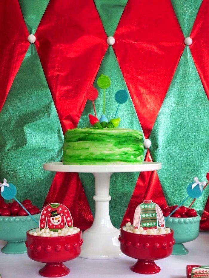 Christmas lights cake from a Christmas Ugly Sweater Party on Kara's Party Ideas | KarasPartyIdeas.com (10)