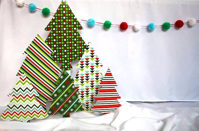 Patterned trees from a Christmas Ugly Sweater Party on Kara's Party Ideas | KarasPartyIdeas.com (8)