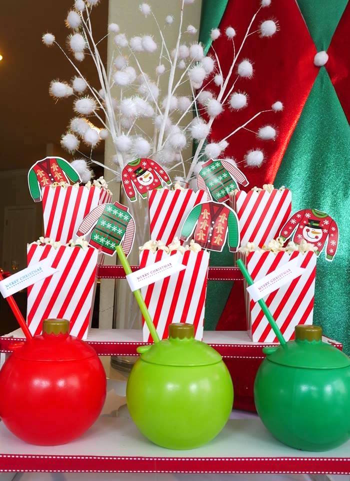 Christmas bulb drink cups from a Christmas Ugly Sweater Party on Kara's Party Ideas | KarasPartyIdeas.com (7)