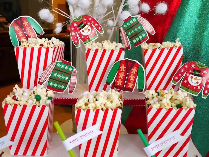 Ugly sweater popcorn boxes from a Christmas Ugly Sweater Party on Kara's Party Ideas | KarasPartyIdeas.com (2)
