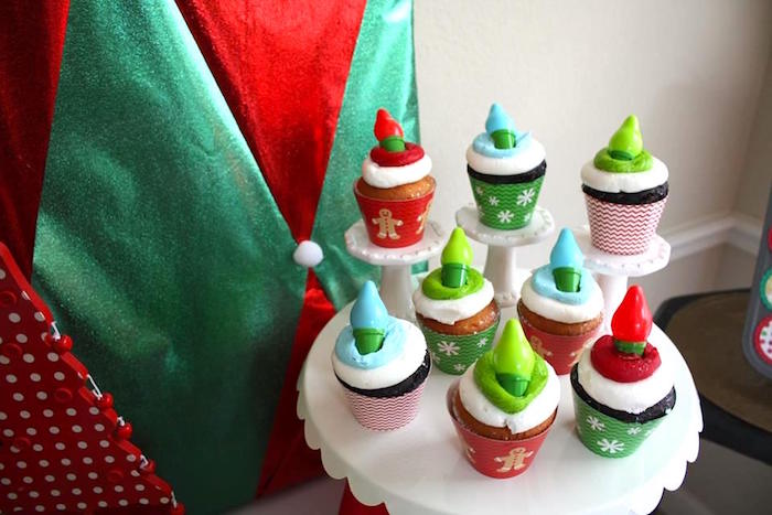 Christmas light cupcakes from a Christmas Ugly Sweater Party on Kara's Party Ideas | KarasPartyIdeas.com (16)