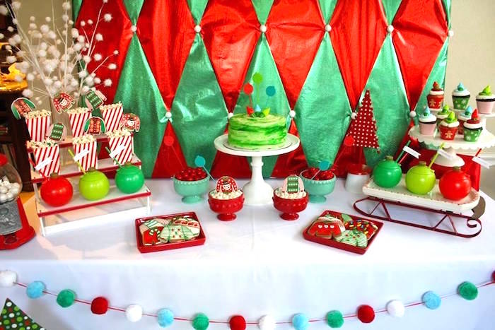 Dessert tabletop from a Christmas Ugly Sweater Party on Kara's Party Ideas | KarasPartyIdeas.com (13)