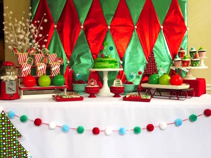 Traditional red & greed Christmas dessert table from a Christmas Ugly Sweater Party on Kara's Party Ideas | KarasPartyIdeas.com (12)