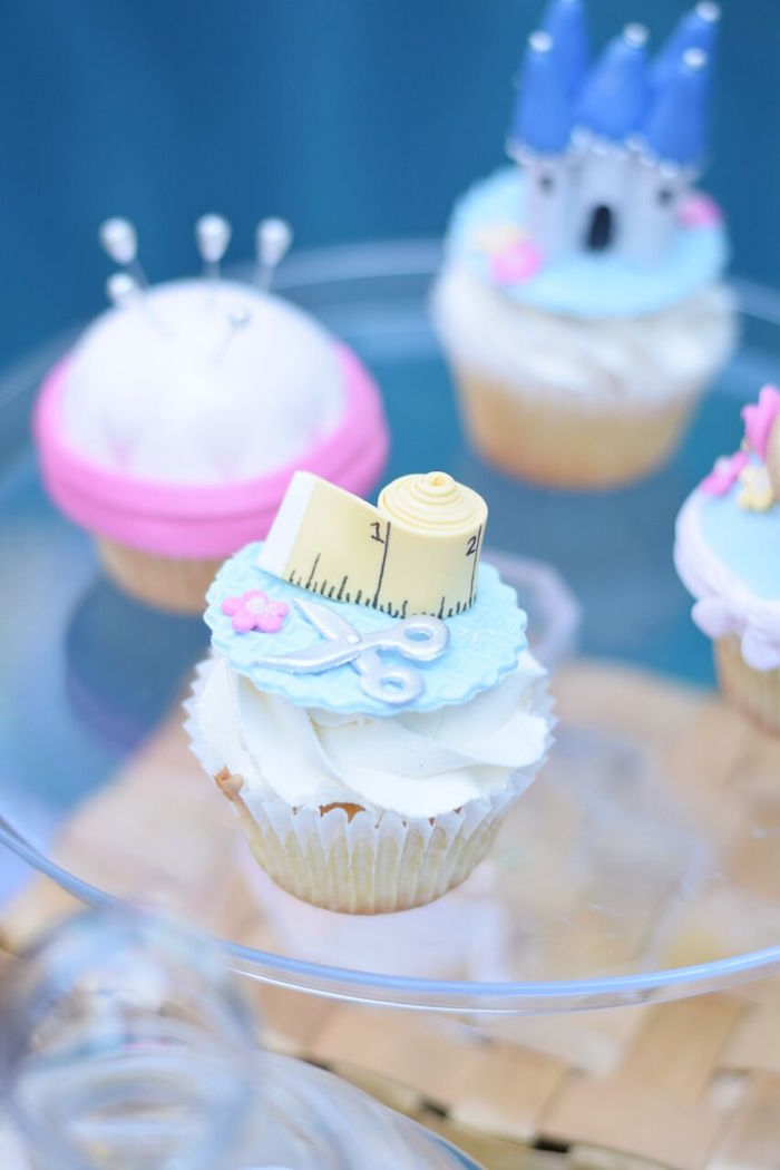 Cinderella sewing cupcake from a Cinderella Birthday Party on Kara's Party Ideas | KarasPartyIdeas.com (36)