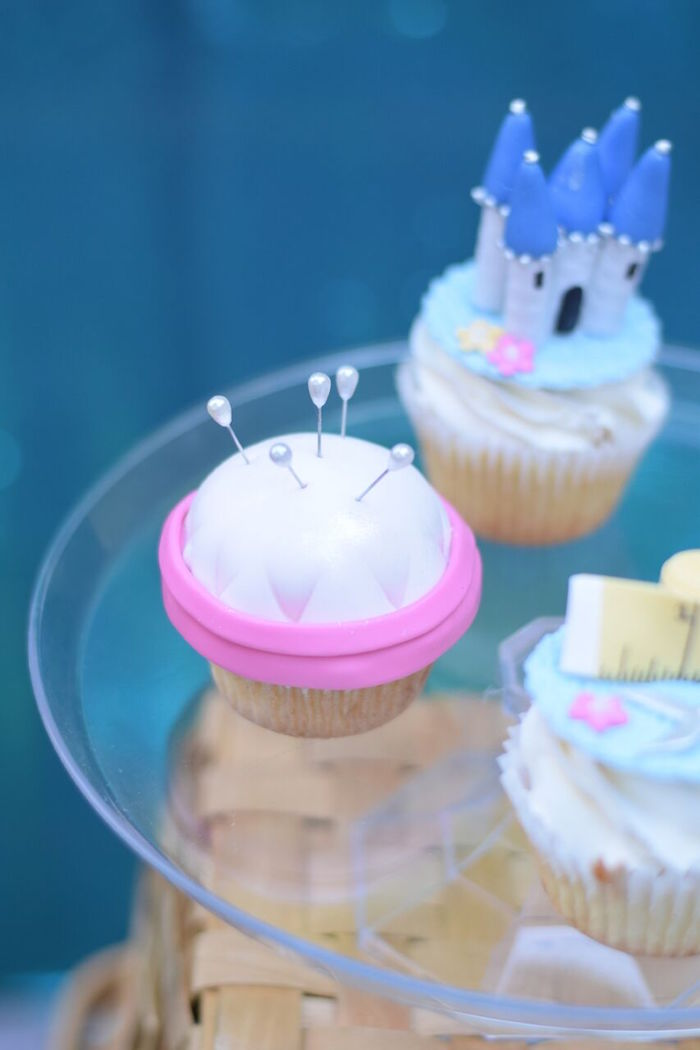 Pin cushion cupcake from a Cinderella Birthday Party on Kara's Party Ideas | KarasPartyIdeas.com (35)