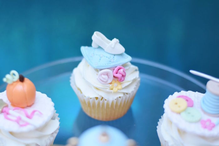 Cinderella slipper cupcake from a Cinderella Birthday Party on Kara's Party Ideas | KarasPartyIdeas.com (30)