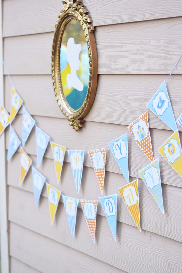 Cinderella banner and mirror from a Cinderella Birthday Party on Kara's Party Ideas | KarasPartyIdeas.com (12)