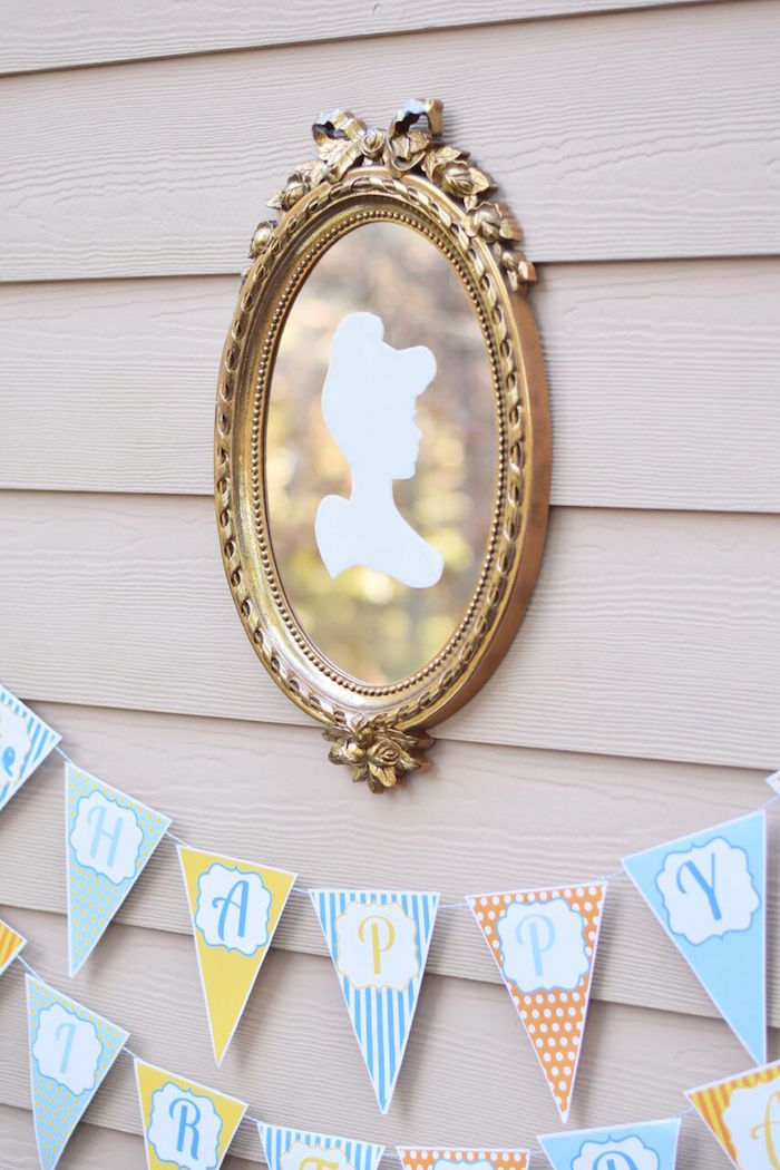 Cinderella mirror from a Cinderella Birthday Party on Kara's Party Ideas | KarasPartyIdeas.com (11)