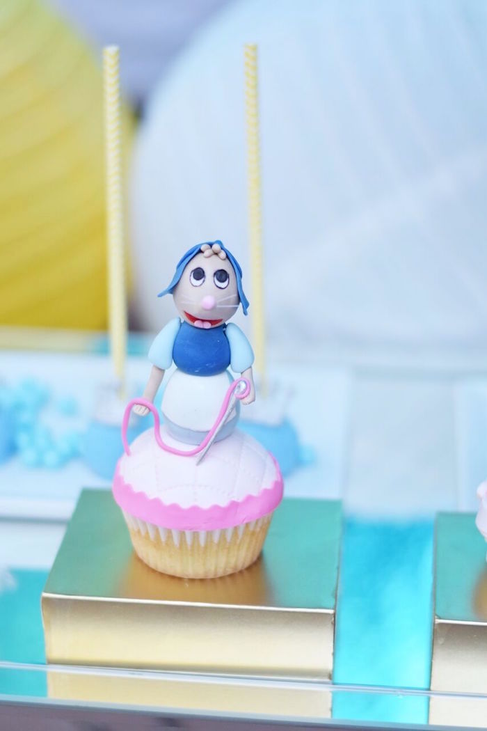 Cinderella mouse cupcake from a Cinderella Birthday Party on Kara's Party Ideas | KarasPartyIdeas.com (43)