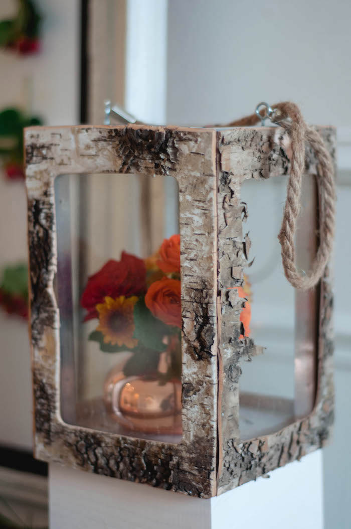 Rustic wood lantern from a Cozy Winter Party on Kara's Party Ideas | KarasPartyIdeas.com (35)