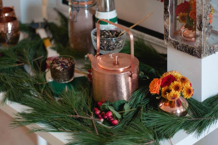 Green garland from a Cozy Winter Party on Kara's Party Ideas | KarasPartyIdeas.com (32)