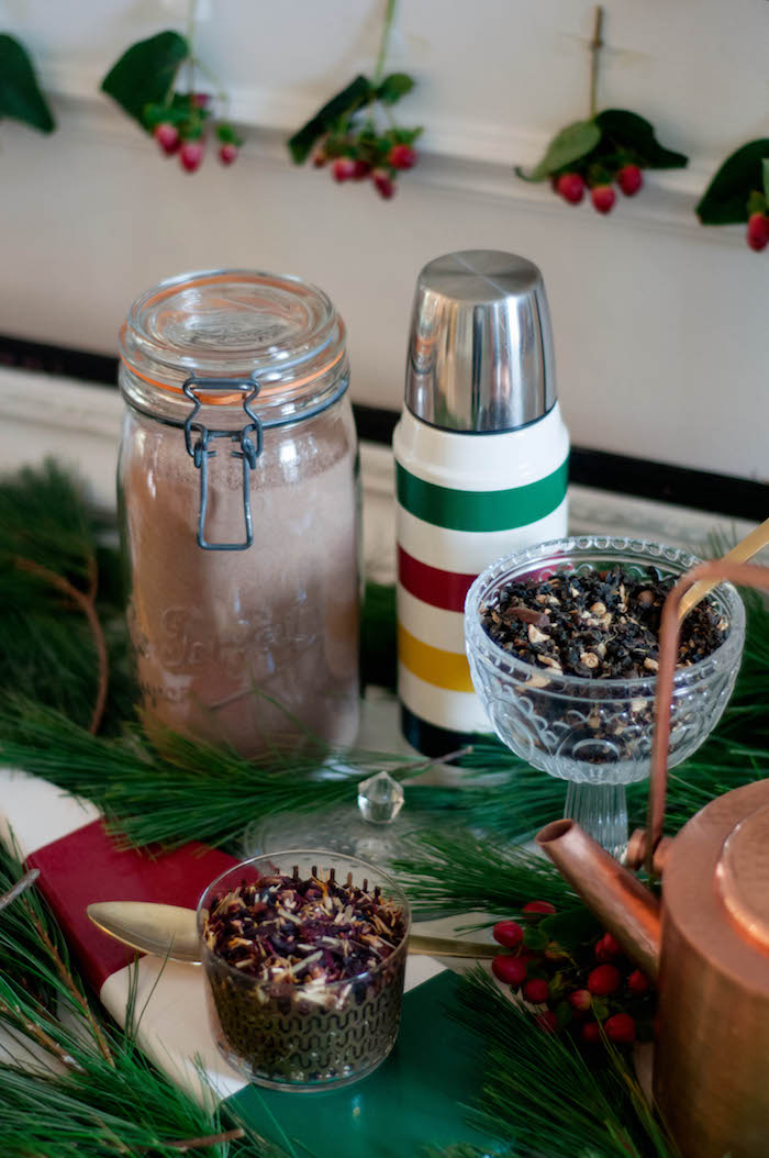Hot cocoa in a jar & striped thermos from a Cozy Winter Party on Kara's Party Ideas | KarasPartyIdeas.com (30)