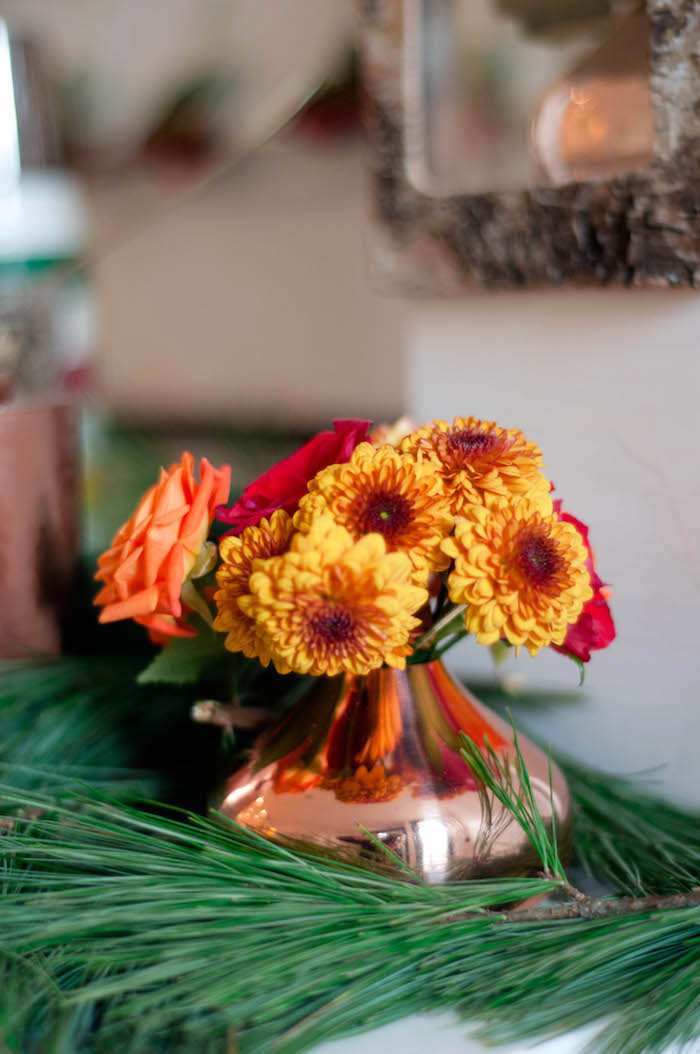 Fresh flowers in a brass vase from a Cozy Winter Party on Kara's Party Ideas | KarasPartyIdeas.com (28)