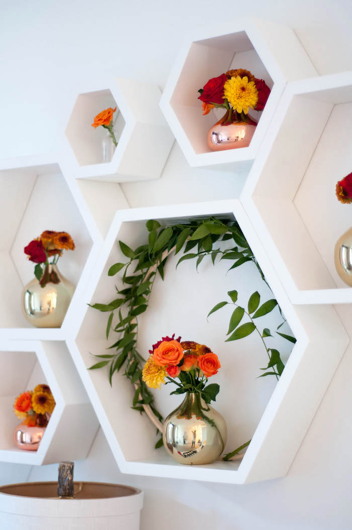 Hexagon shadow boxes filled with flowers & vines from a Party table from a Cozy Winter Party on Kara's Party Ideas | KarasPartyIdeas.com (24)