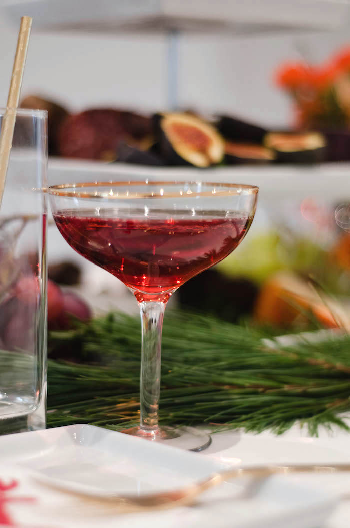 Gold rimmed drink glass from a Cozy Winter Party on Kara's Party Ideas | KarasPartyIdeas.com (11)