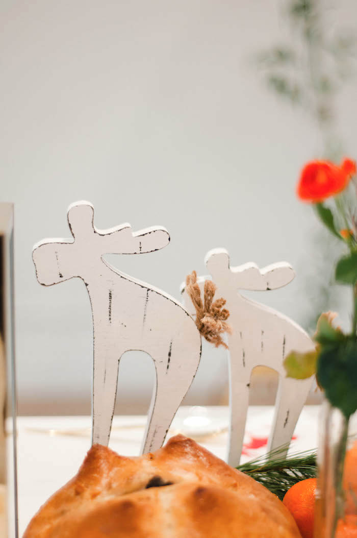 Wooden reindeer decorations from a Cozy Winter Party on Kara's Party Ideas | KarasPartyIdeas.com (9)