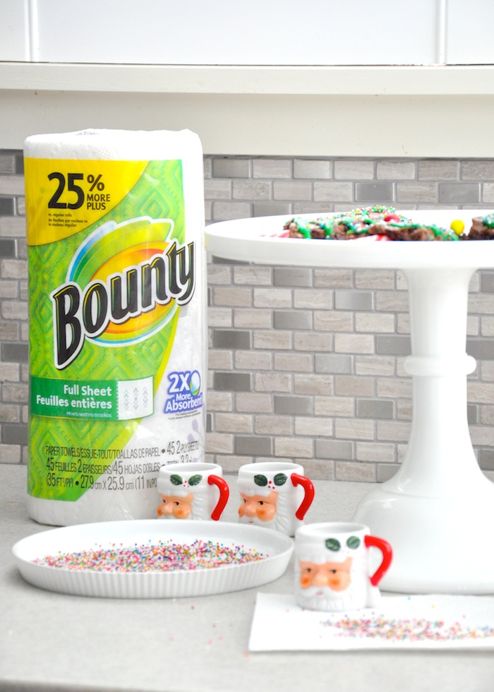 Christmas Tree Brownies recipe via Kara's Party Ideas   KarasPartyIdeas.com Holiday cleanup with Bounty paper towels!