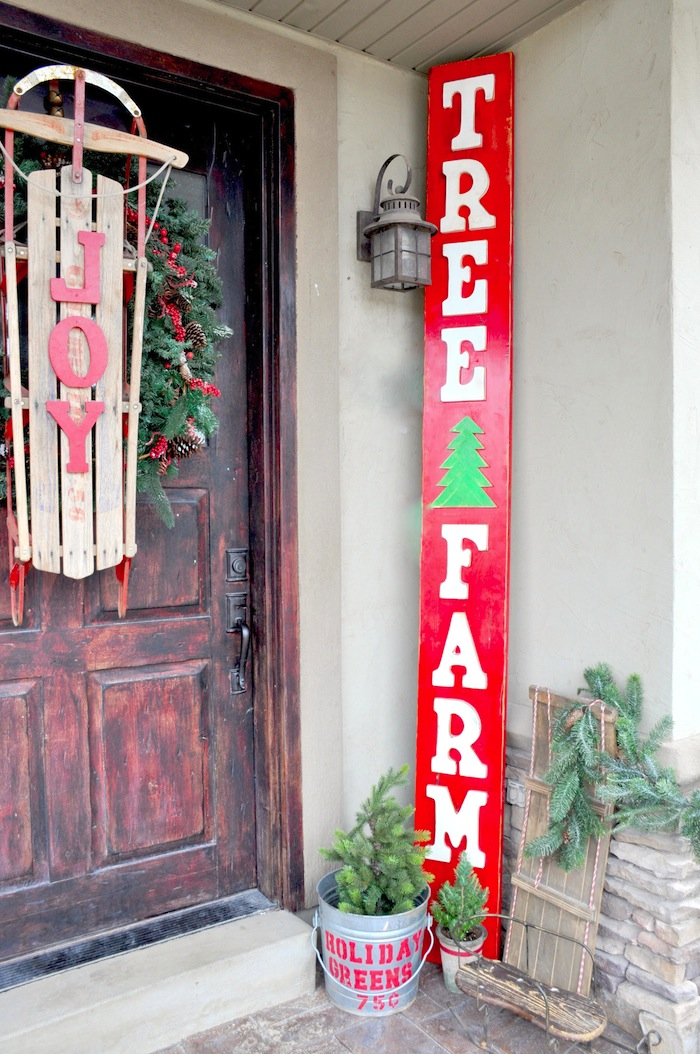 DIY Vintage Inspired Wooden Wood Tree Farm Sign for Christmas by Kara's Party Ideas | KarasPartyIdeas.com Front Porch Ideas