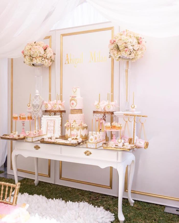 Dior-inspired dessert spread from a Diamonds & Dior 1st Birthday Party on Kara's Party Ideas | KarasPartyIdeas.com (12)