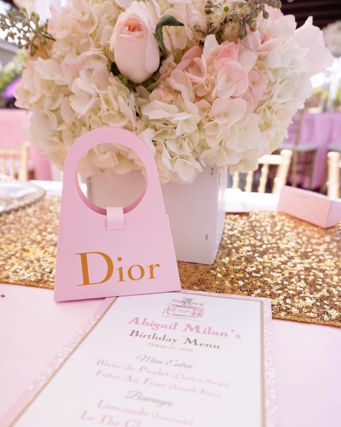 Guest table details from a Diamonds & Dior 1st Birthday Party on Kara's Party Ideas | KarasPartyIdeas.com (11)