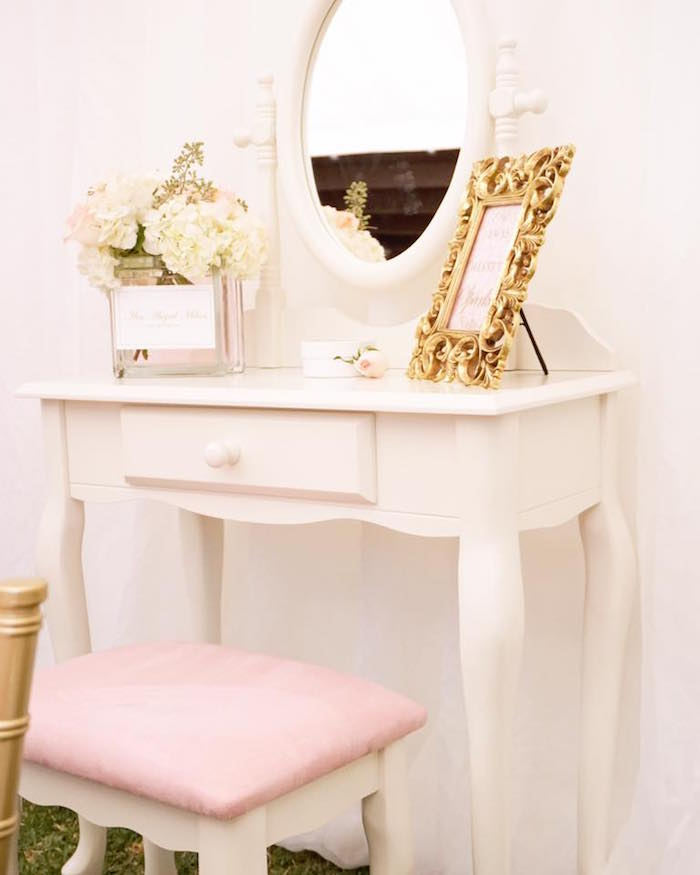 White dressing table from a Diamonds & Dior 1st Birthday Party on Kara's Party Ideas | KarasPartyIdeas.com (9)