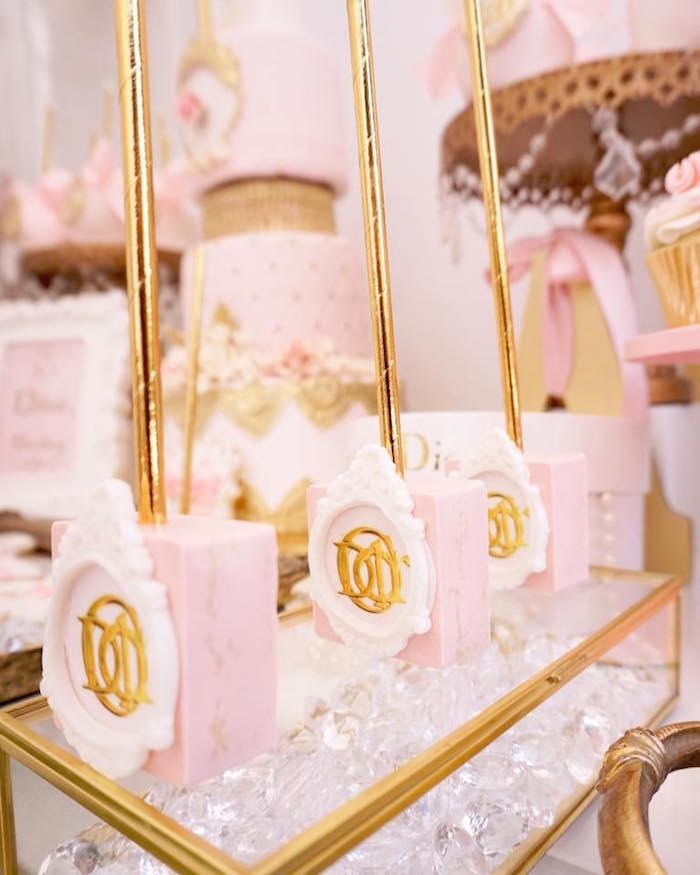 Mini Dior cakes from a Diamonds & Dior 1st Birthday Party on Kara's Party Ideas | KarasPartyIdeas.com (8)