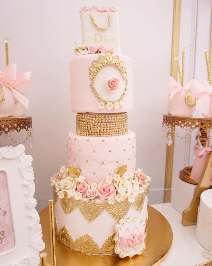 Gorgeous 3-tiered Dior-inspired birthday cake from a Diamonds & Dior 1st Birthday Party on Kara's Party Ideas | KarasPartyIdeas.com (7)