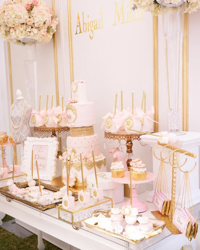 Sweet tablescape from a Diamonds & Dior 1st Birthday Party on Kara's Party Ideas | KarasPartyIdeas.com (6)