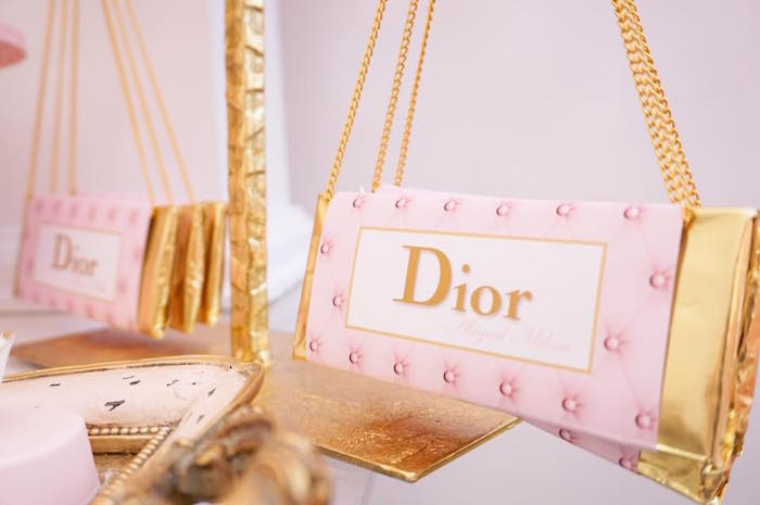 Dior candy bar purse from a Diamonds & Dior 1st Birthday Party on Kara's Party Ideas | KarasPartyIdeas.com (5)