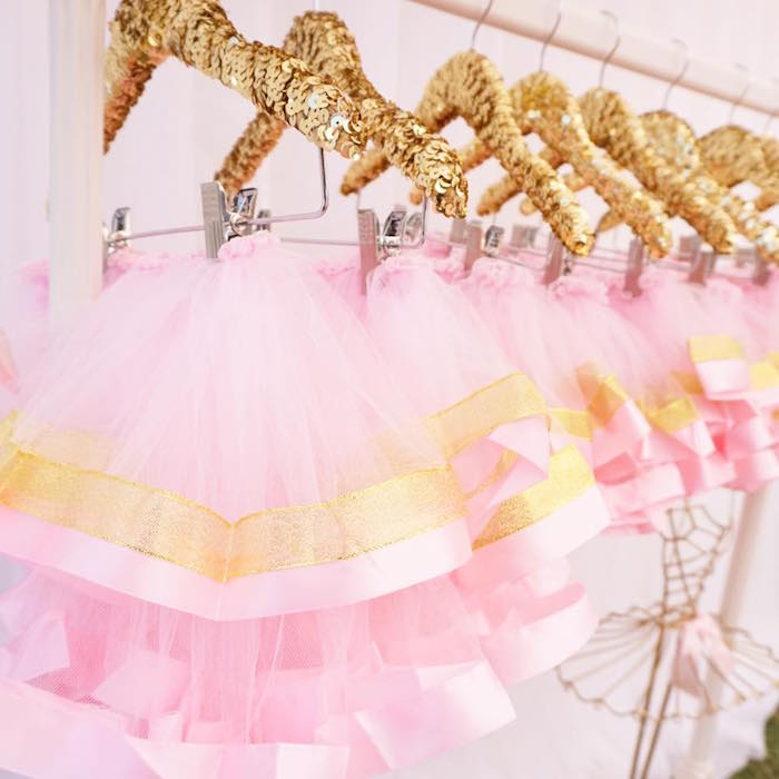 Pink & gold tutus from a Diamonds & Dior 1st Birthday Party on Kara's Party Ideas | KarasPartyIdeas.com (4)