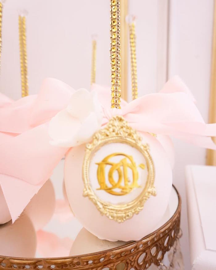 Dior-inspired gourmet apples from a Diamonds & Dior 1st Birthday Party on Kara's Party Ideas | KarasPartyIdeas.com (20)