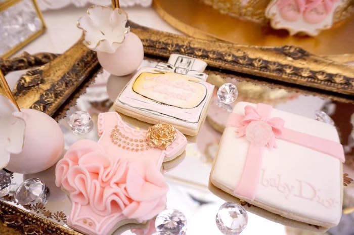 Dior cookies & cake pops from a Diamonds & Dior 1st Birthday Party on Kara's Party Ideas | KarasPartyIdeas.com (18)