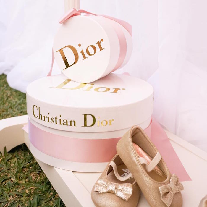 Dior boxes from a Diamonds & Dior 1st Birthday Party on Kara's Party Ideas | KarasPartyIdeas.com (17)