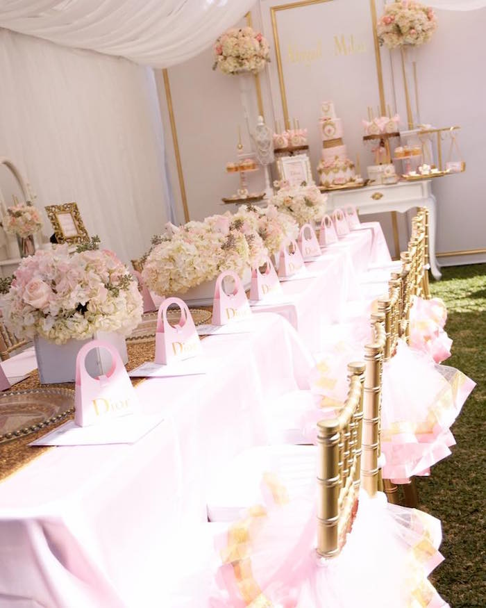 Dior guest table from a Diamonds & Dior 1st Birthday Party on Kara's Party Ideas | KarasPartyIdeas.com (15)