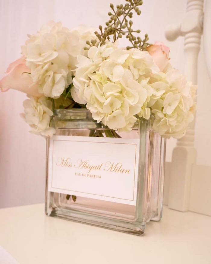 White hydrangea & rose centerpiece from a Diamonds & Dior 1st Birthday Party on Kara's Party Ideas | KarasPartyIdeas.com (14)
