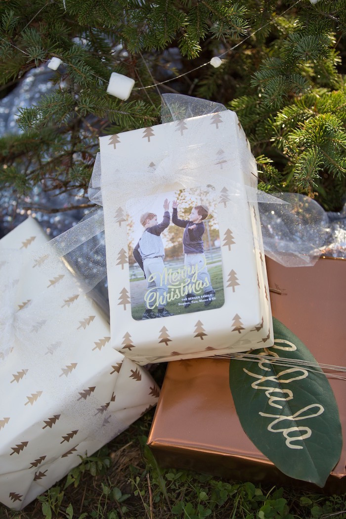 Wrapped gift box from a Dreamy Hot Cocoa Holiday Party on Kara's Party Ideas | KarasPartyIdeas.com (22)