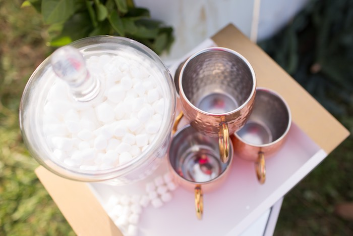 Marshmallows and copper cups from a Dreamy Hot Cocoa Holiday Party on Kara's Party Ideas | KarasPartyIdeas.com (13)